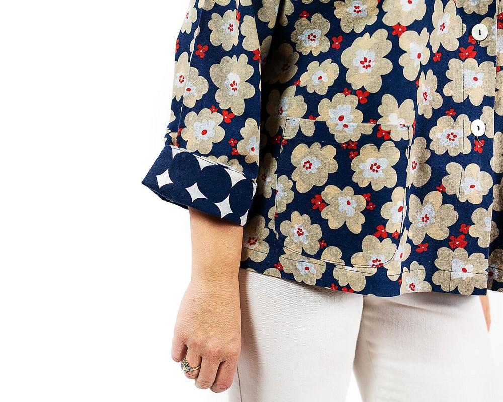 Giacca a fiori e pois di cotone e lino giapponese