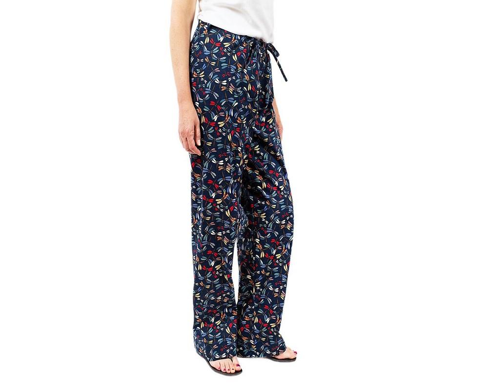 Pantaloni con coulisse di cotone tradizionale giapponese con libellule colorate su fondo blu